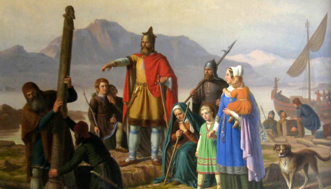 Bildet «Ingolf tar Island i besiddelse» av Johan Peter Raadsig (1850), viser den første norske landnåmsmannen på Island, Ingólfr Arnarson, som går i land i Reykjavík. Kanskje hadde barna hans fosterforeldre, slik mange av høvdingklassen gjerne hadde.  (Foto: NDLA)