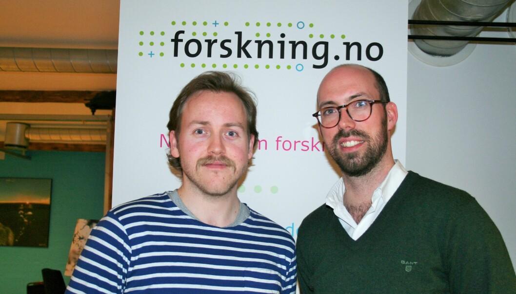 Lars Erik Berntzen (t.v) har denne uken med seg Anders Ravik Jupskås , nestleder for det nye senteret for ekstremismeforskning (C-REX), i studio. (Foto: forskning.no)