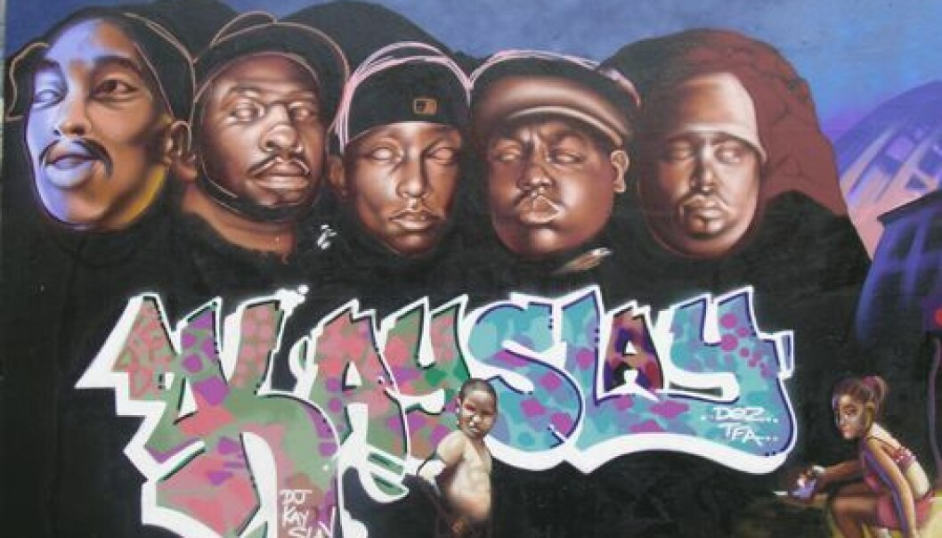 Five dead hip hop artists, based on the Mount Rushmore monument. From the left: 2Pac, Jam Master Jay, Big L, Notorious BIG and Big Pun. The wall was painted by the Ymi Crew. (Photo: Carl Petter Opsahl)