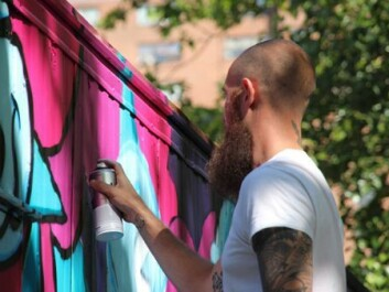 The graffiti artist BISHOP 203 in action. (Photo: Carl Petter Opsahl)