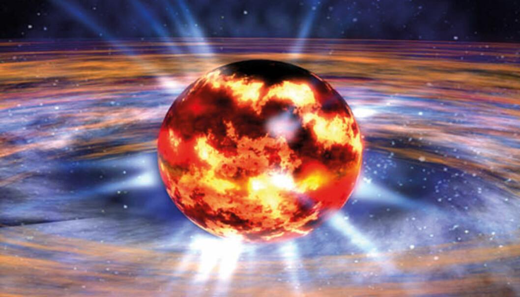 En nøytronstjerne er så kompakt at den bare ville ha hatt en diameter på 11 til 13 kilometer hvis massen var 140 prosent av solen vår. (Foto: NASA/Dana Berry)