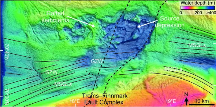 De hvite pilene på kartet over havbunnen viser hvor isen ble bremset ned under siste istid. Dette ble observert på Håkjerringdypet, utenfor kysten av Finnmark. (Foto: (Illustrasjon: MAREANO))