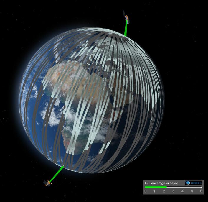 De europeiske radarsatellittene Sentinel-1A og Sentinel-1B vil gå 180 grader fra hverandre i den samme polare banen. De vil kunne dekke ethvert sted på jorda hver 6. dag. (Foto: ESA/ATG medialab)