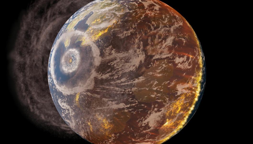 Sånn kan det ha sett ut da en stor komet eller asteroide slo ned i jorden for 66 millioner år siden. Det kalles Chicxulub-krateret, og forskere har funnet sporene etter nedslaget i det som nå er Mexico. (Bilde: Science Photo Library)