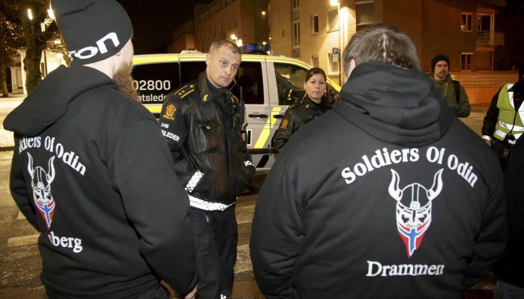 Odins soldater, som patruljerte mange norske byer i februar, ble møtt med massiv kritikk.  (Foto: Heiko Junge, NTB scanpix)