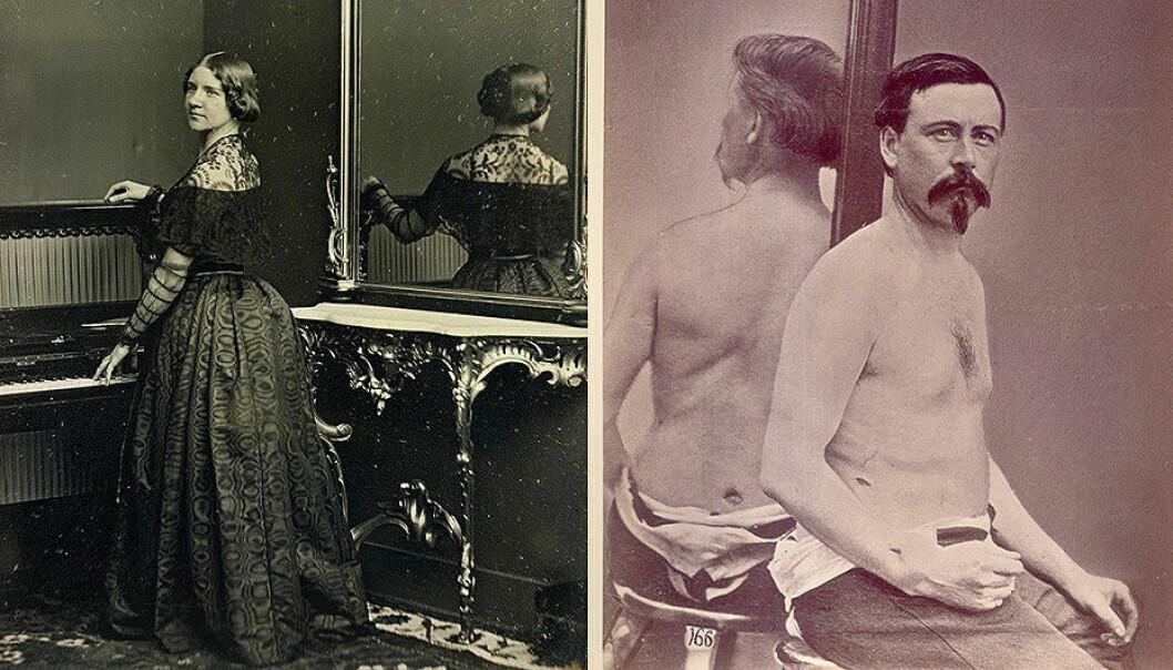 Til venstre: Et av de første portrettene som tok i bruk speil, av sopranen Jenny Lind fra 1848. (Foto: William Edward Kilburn, The Royal Collection Trust/Wikimedia Commons) Til høyre: Et av de tidlige kliniske fotografiene med speil, fra 1862. (Foto: Otis Historical Archives, National Museum of Health and Medicine)