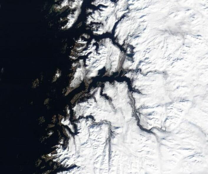 Bodø, Fauske og omegn sett fra NASAs satellitt Terra 5. april. Fortsatt mye snø i dette bildet, ja. (Bilde: NASA Terra MODIS)