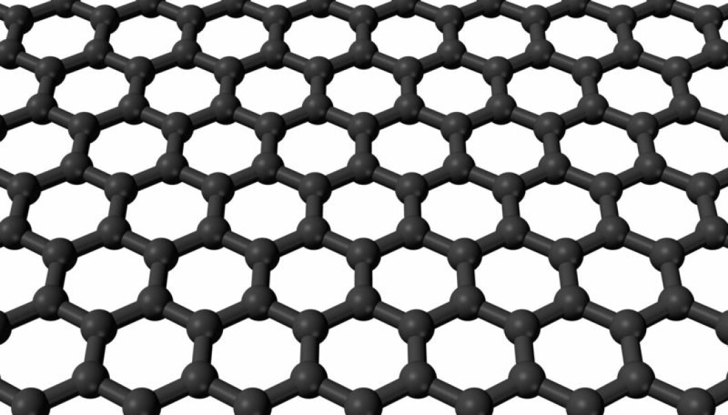 Graphene consists of a single layer of carbon atoms. (Illustration: Wikimedia Commons).