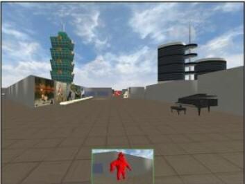 Dette skjermbildet viser personen ved målet foran i bildet. (Foto: (Grafikk: Asta Håberg))