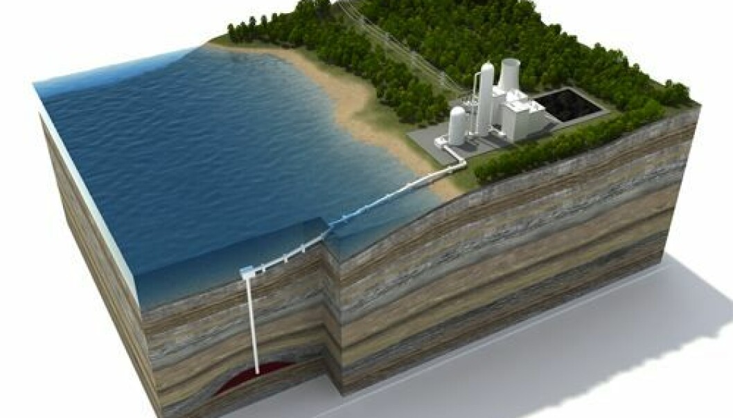 CO2 will be safely stored in suitable geological formations deep below the ground. (Illustration: Bellona/Prosjektlab)