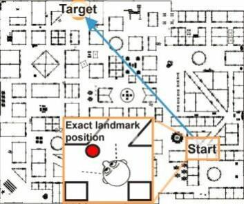 Kartet viser startpunktet og målet. Den blå pilen viser raskeste veien til målet. (Foto: (Grafikk: Asta Håberg))
