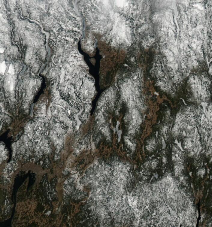 Isen synger på siste verset på mange innsjøer på Østlandet nå. (Bilde: NASA Aqua MODIS)