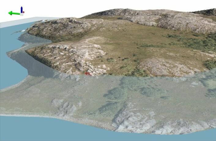 Modell som viser hvordan havnivå trolig var når helleristningene ble hugget i berget. Bergkunstfeltet lå ved sjøen. (Foto: (Modell: Erik Kjellman, Tromsø Museum – Universitetsmuseet))