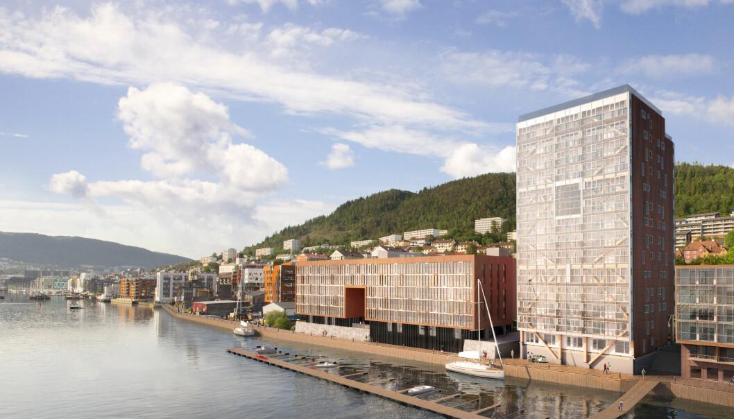 Boligblokka «Treet» i Bergen er verdens høyeste trebygning med sine 14 etasjer og 64 leiligheter. Vi kunne bygd nærmere 2500 slike bygninger hvert år med den tilgangen vi har hatt på tømmer i Norge de siste 500 årene, skriver artikkelforfatterne. (Illustrasjon: Snølys)