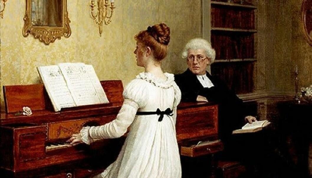 Normen om at unge dannede kvinner fra borgerskapet spilte piano bredde om seg i Europa på 1800-tallet. Maleriet The piano lesson er fra 1896, malt av britiske Edmund Blair Leighton. (Foto: Shutterstock, NTB scanpix)