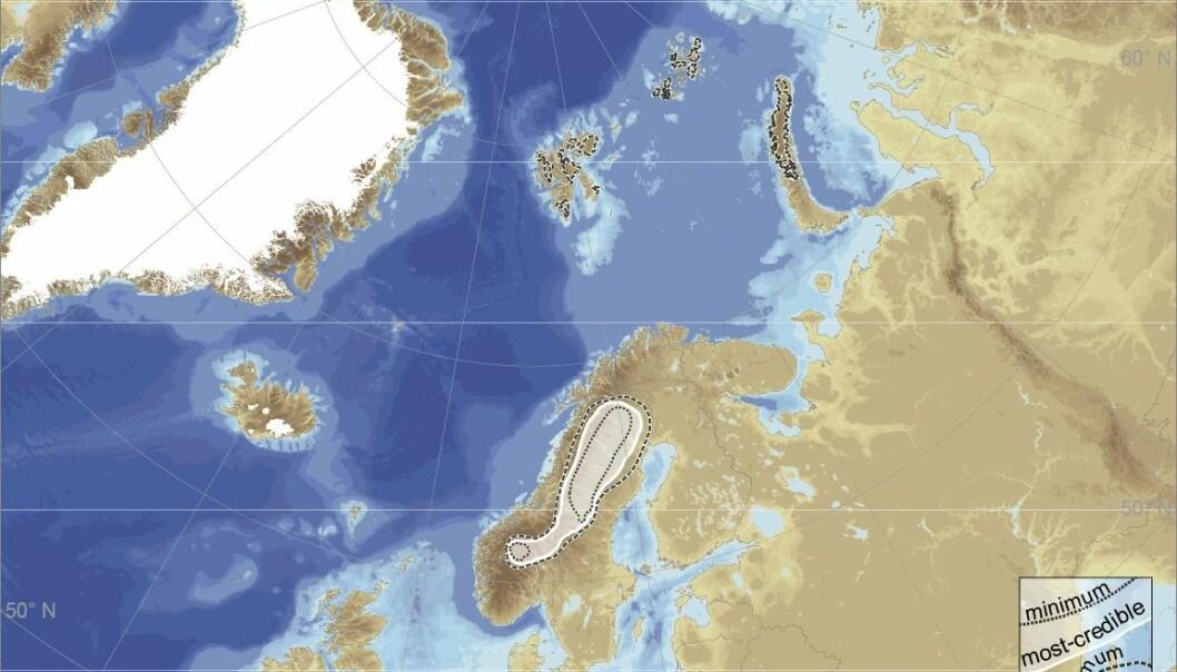 I perioden fra 25 000 til 10 000 år tilbake er isutviklingen  gjenskapt, ved å lage 16 kart over isbreens utbredelse for hvert 1000 år. Fire kart viser tidligere faser da isdekkene vokste.