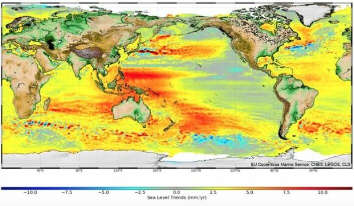 Lokal trend for havnivået gjennom de årene som altimetersatellittene har målt. (Bilde: EU Copernicus Marine Service, CNES, LEGOS, CLS)