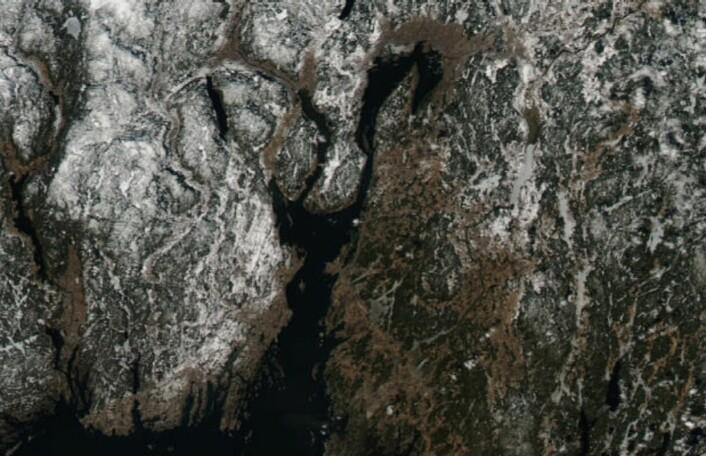 Et eksempel på fint påskevær. (Bilde: NASA Aqua MODIS)