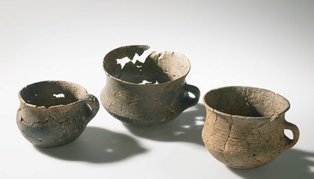 Pottery grave goods dating from the Late Roman period (200-400 AD) (Photo: Eirik Irgens Johnsen, Museum of Cultural History)