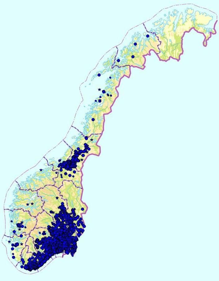 Kart over blåveis, hver blå prikk viser ett funnsted. (Foto: Kilde: Artskart)