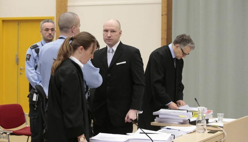 I dag er det siste dag i den midlertidige rettssalen i Skien fengsels gymsal, i rettssaken i Oslo tingrett der terrordømte Anders Behring Breivik saksøker staten for brudd på menneskerettighetene under soningen. (Foto: Lise Aaserud, NTB scanpix)