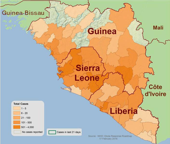 Antall sykdomstilfelle av ebola den 17. desember 2015. (Foto: (Figur: Centers for Disease Control and Prevention))