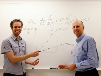 """""""Wave velocity in ultrasound measurements increases the more dangerous the tumour is"""", explains Professor Sverre Holm (right) and Postdoctoral Fellow Peter Näsholm in the Department of Informatics at UiO. (Photo: Yngve Vogt)"""