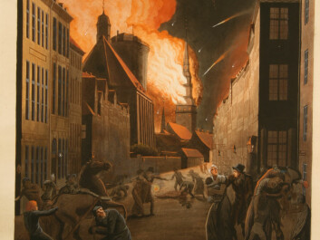 Copenhagen on fire, painted by Christoffer Wilhelm Eckersberg. When the Napoleonic Wars ended, Norway declared independence on 17 May 1814. (Painting of Eckersberg)