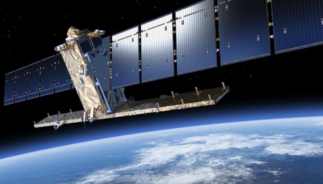 Sentinel-1 er en radarsatellitt som kan se bevegelser i havis og landmasser. Slik kan den også få stor betydning for kartlegging av hvilke områder som er hardest rammet etter jordskjelv og skred.  (Illustrasjon: ESA/ATG medialab)
