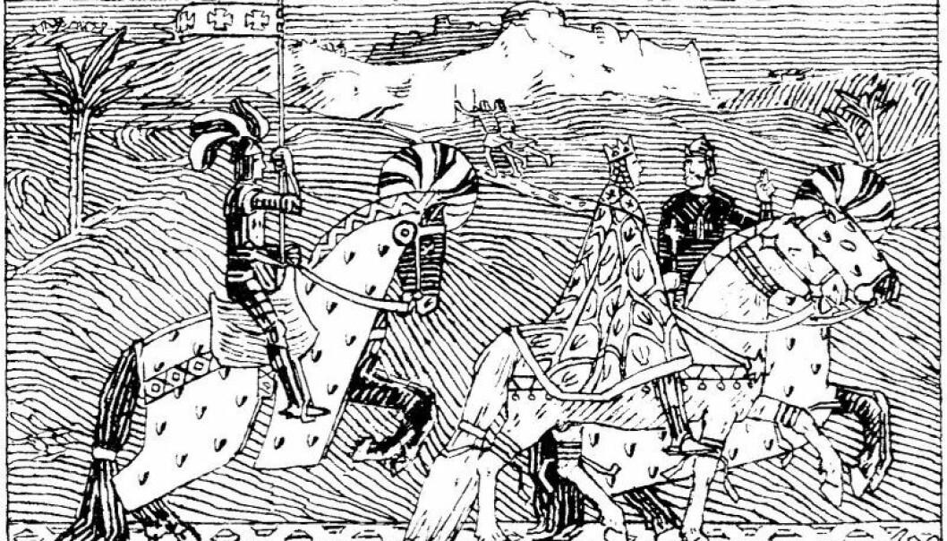 Sigurd I Magnusson rir sammen med kong Balduin I av Jerusalem i rundt 1110. (Bilde: Snorre Sturlaśon - Heimskringla, J.M. Stenersen & Co, 1899)
