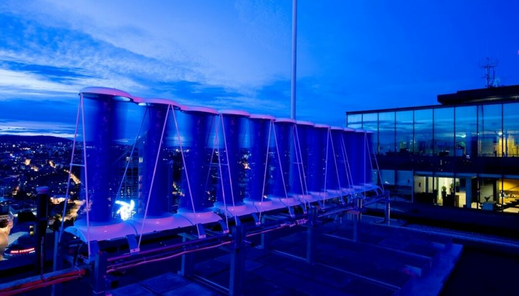 Measurement equipment and turbines is installed on the roof of the 23rd floor of a building in Oslo. (Photo: Entra)