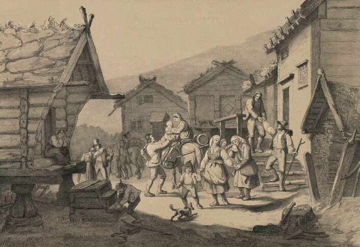 Skandinaviske emigranter beholdt sin ærlige grunnholdning i møtet med amerikansk vill vest, selv etter tre generasjoner og 150 år, viser nyere undersøkelser. Her er et reisefølge av norske utvandrere som tar avskjed i hjembygda tidlig på 1800-tallet. Tegningen er laget etter et maleri av Adolph Tidemand til boka Norge fremstillet i Tegninger, utgitt i 1848. (Foto: (Illustrasjon: Nasjonalbiblioteket))
