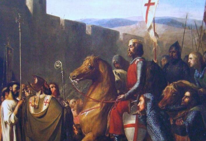 """Balduin av Boulogne kommer til Edessa i dagens Tyrkia på vei til Jerusalem. Dette skal ha skjedd i 1098, to år før Balduin ble konge i Jerusalem. Maleriet er fra 1840, og viser et typisk romantisert bilde av korsfarerne. (Bilde: J.Robert-Fleury, """"Les Croisades, origines et consequences"""")"""