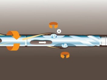 Laboratory tests have raised hopes that the newly developed tool can be used to drill onwards from existing oil-wells: 1. All drilling for oil is based on the use of drilling fluid. This has several functions, among them cooling of the drill-bit. 2. The pressure of the drilling fluid also prevents the well from collapsing and allowing gas to flow into the wellbore during drilling. But it must not be too high; if it were, the drilling fluid would flow out of the well and disappear into the pores of the reservoir formation. 3. The drilling fluid is kept under a certain additional pressure in order to keep it circulating so that it carries the drill cuttings up to the surface. Traditional drilling requires such high extra pressure that a lot of drilling fluid would flow into depleted reservoirs if the branch wells were drilled from existing wells, so this potential method is insufficiently exploited. 4. The new drilling tool can get by with lower additional pressure than normal drilling equipment because its extra row of teeth (side-cutters) create spiral grooves in the wall of the well, which makes the removal of drilling cuttings more efficient.  5. Thanks to the low extra pressure, loss of drilling fluids becomes less of a problem, and this is what has given rise to hopes that the new tool can be used to drill out from existing wells.(Illustration: SINTEF/Knut Gangåssæter)