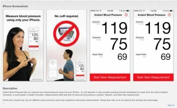 Slik skulle man måle blodtrykket med mobil-appen IBP. (Foto: Iltifat Husain)