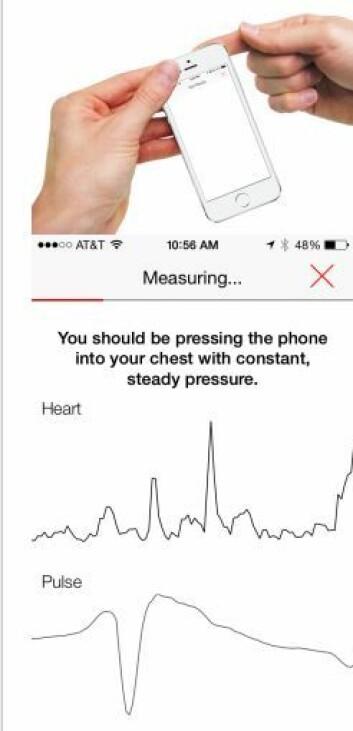 Slik kunne blodtrykksmålingen vise seg på mobilen. Men det ga altså et feilaktig bilde av det reelle blodtrykket i svært mange av tilfellene. (Foto: Iltifat Husain)
