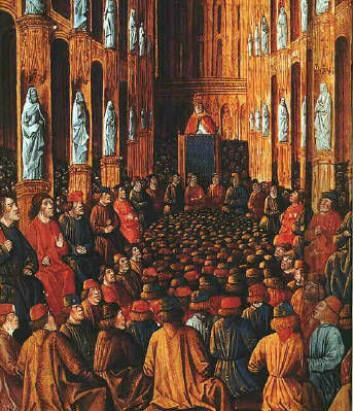 Kirkekonsilet i Clermont i 1095, hvor pave Urban II satte i gang korstogene. (Foto: (Bilde: Bibliothèque Nationale))