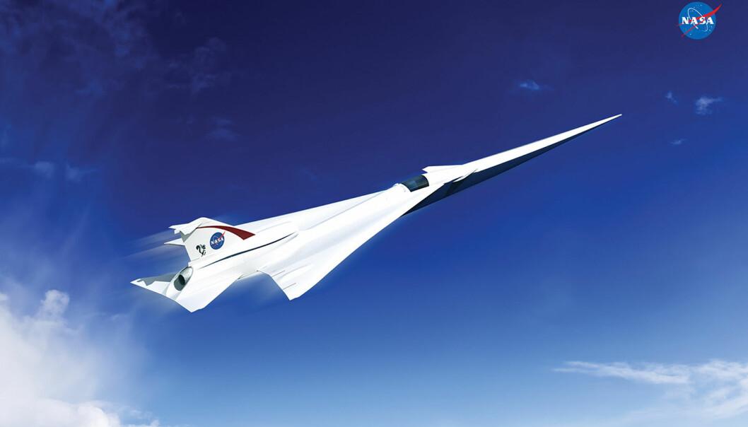 Et mer stillegående overlydsfly av typen Low Boom Flight Demonstration Quiet Supersonic Transport (QueSST), slik tegneren tenker seg det. En lang nese er en viktig detalj for å trekke ut overlydssmellet i tid, slik at det blir mindre sjokkartet. Også tidligere forsøk med jagerfly har brukt en slik lang nese for å gjøre overlydssmellet mindre plagsomt. (Illustrasjon: Lockheed Martin)
