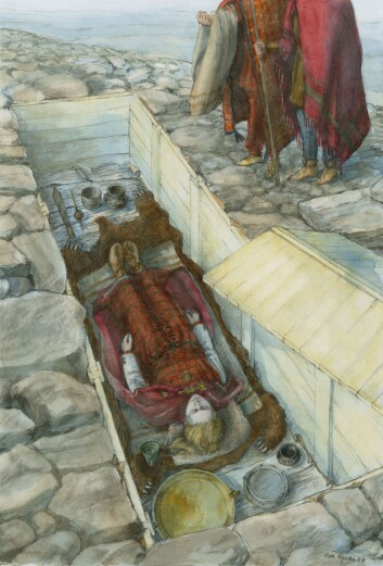 Slik kan det ha sett ut når en jernalderkvinne ble gravlagt med smykkene på, i Klepp i Rogaland. (Foto: (Tegning: Eva Gjerde, Arkeologisk museum, UiS))