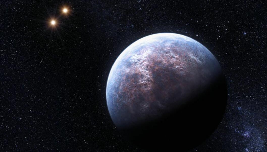 En eksoplanet rundt trippelstjernen Gliese 667 C. Her har kunstneren valgt å framstille planeten som jordlignende. Dette er bare en av mange eksoplaneter som potensielt kan ligne på jorden. (Illustrasjon: ESO/L. Calçada)