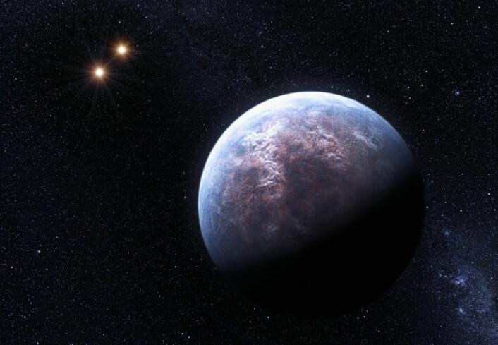 High Accuracy Radial Velocity Planet Searcher (HARPS), i ESO's 3,6-meters telescope, har funnet hele 32 eksoplaneter. En av dem kretser rundt stjernen Gliese 667 C, som hører til i et system med tre soler. Planeten har seks ganger massen til jorda, og subber lavt over stjernen sin - bare 1/20 av avstanden mellom jorda og sola. Det er funnet mer enn 500 eksoplaneter totalt. (Illustrasjon: ESO/L. Calçada) (Foto: (Illustrasjon: ESO/L. Calçada))