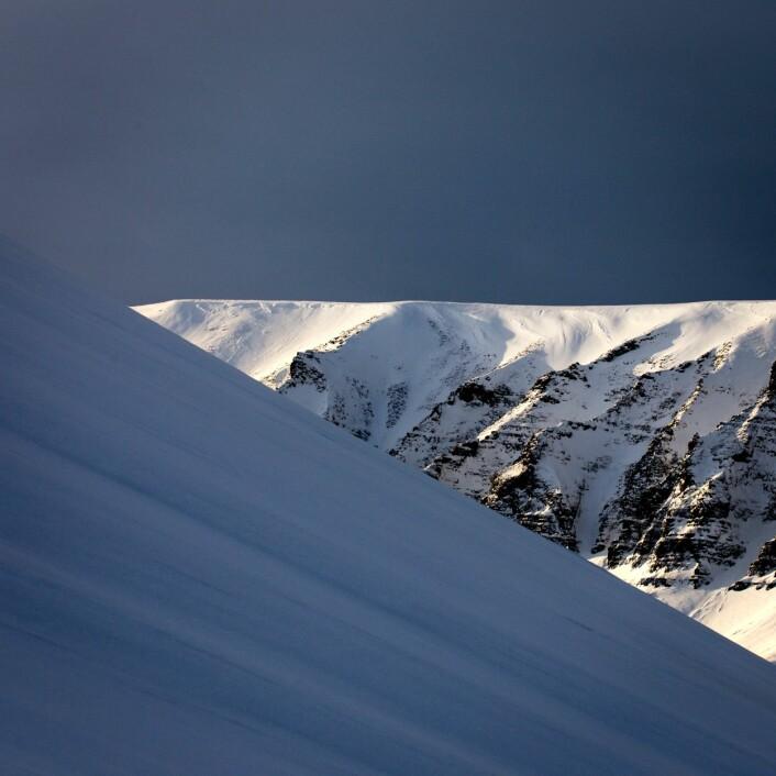 Lys og skygge nærmer seg Longyearbyen tidlig i mars. (Foto: Børge Damsgård, UNIS)