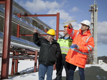 In the multiphase laboratory, these scientists have been gathering measurement data that show how tomorrow's viscous oils will behave as they are brought ashore in pipelines that they share with natural gas. From the left; Karl Gustav Gustavsen, Arne Erik Rekkebo and Christian Brekken. (Photo: SINTEF / Gry Karin Stimo)