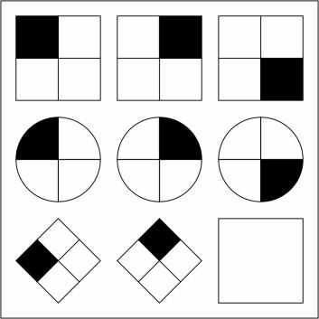 Eksempel på figur fra IQ-test. Denne figuren kalles Ravens matrise. Oppgaven går ut på å lage den neste figuren i hver linje, ut fra hvordan figurene forandrer seg fra venstre mot høyre. (Foto: (Figur: Life of Riley, Creative Commons Attribution-Share Alike 3.0 Unported licence))