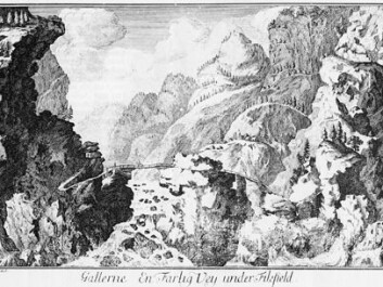 In the 1700s the Norwegian landscape was considered wild and dangerous. This drawing, entitled At Galdane – A dangerous road under Filefjell, appeared in Erich Pontoppidan's Natural History of Norway (Copenhagen, 1752/53). (Photo: Arthur Sand)