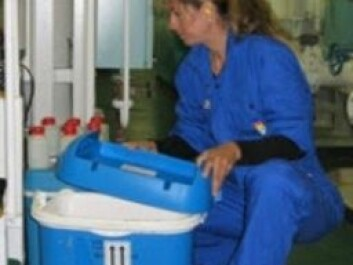 Researcher Stephanie Delacroix during shipboard testing of ballast water management system. (Photo: NIVA)