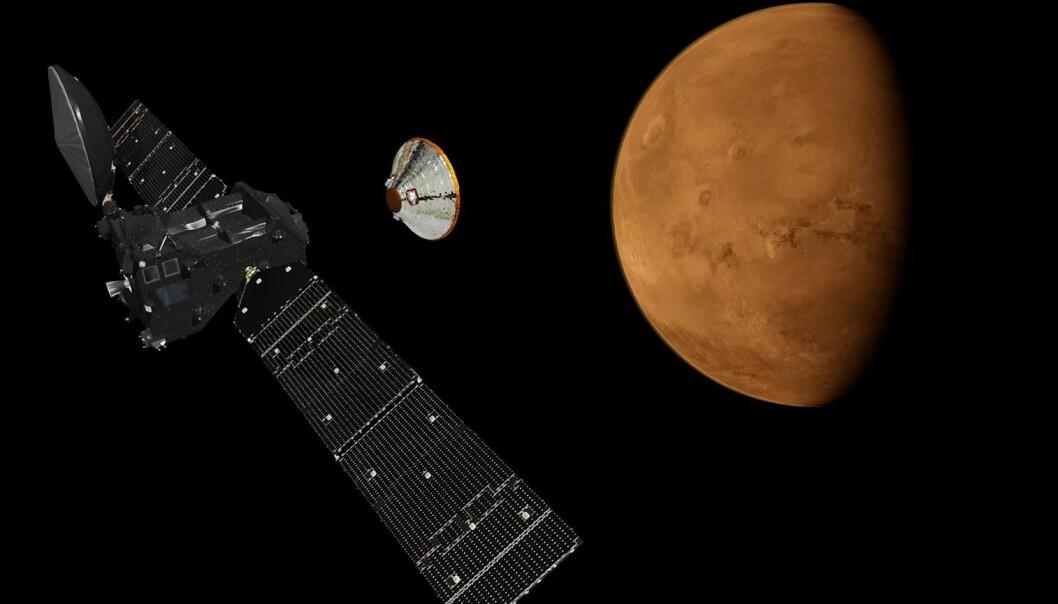 ExoMars Trace Gas Orbiter skal snuse på sporgassene i Mars-atmosfæren, som metan som kan skyldes biologisk aktivitet. Romsonden skytes opp denne måneden. (Illustrasjon: ESA/ATG medialab)