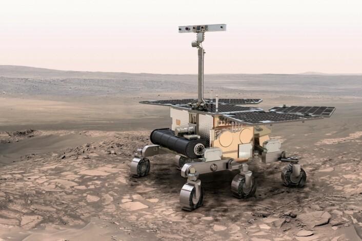 Roveren til ExoMars skal lete etter vann og liv på Mars ved hjelp av blant annet en norsk-designet georadar. (Foto: (Illustrasjon: ESA))