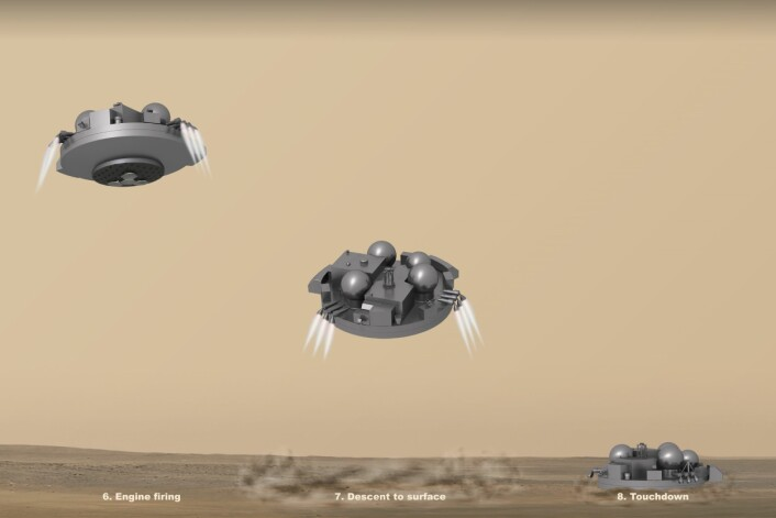 Slik skal Schiaparelli, ExoMars 2016 sin testmodul for roverlanding, lande i Oxia Planum på vår røde naboplanet. (Foto: (Illustrasjon: ESA/ATG medialab))