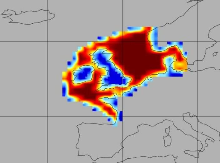 Opptak av CO2 i havet utenfor Nord-Europa. Dette havområdet tar opp 24 millioner tonn CO2 hvert år, men opptaket bidrar også til å gjøre havet surere. (Foto: Universitetet i Exeter)